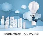 businessman looking through... | Shutterstock .eps vector #772497313