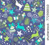 christmas seamless pattern of... | Shutterstock .eps vector #772500010