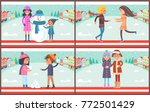 mother and son with snowman... | Shutterstock .eps vector #772501429