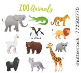 vector cartoon style set of zoo ... | Shutterstock .eps vector #772502770
