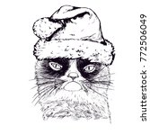 Hand Drawn Grumpy Cat With...