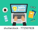 laptop password notification of ... | Shutterstock .eps vector #772507828