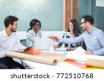 business meeting at the table... | Shutterstock . vector #772510768
