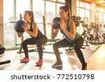 two sporty girls doing... | Shutterstock . vector #772510798
