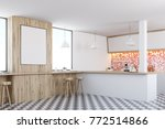 red tiles kitchen interior with ... | Shutterstock . vector #772514866