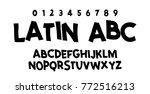 comic lettering font. vector... | Shutterstock .eps vector #772516213