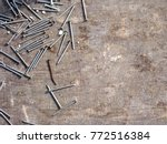 nails are randomly scattered... | Shutterstock . vector #772516384