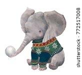 cute watercolor winter elephant ... | Shutterstock . vector #772517008
