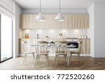 Stock photo white dining room interior with a panoramic window a wooden floor and a white table with wooden 772520260