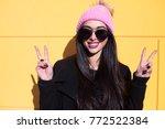 happy joyful smiling hipster... | Shutterstock . vector #772522384