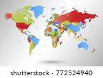 color world map vector | Shutterstock .eps vector #772524940