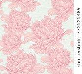 hand drawn linen peony flower ... | Shutterstock .eps vector #772525489