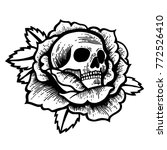 old school rose tattoo with... | Shutterstock .eps vector #772526410