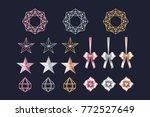 merry christmas set rose gold ...   Shutterstock .eps vector #772527649