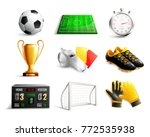 Soccer Set Of 3d Icons With...
