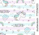 cute hand drawn unicorn vector... | Shutterstock .eps vector #772536523
