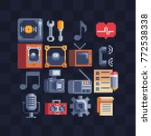 pixel art flat icons set. retro ... | Shutterstock .eps vector #772538338