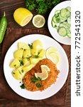 tasty schnitzel with boiled...   Shutterstock . vector #772541320