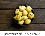 cooked boiled potatoes with...   Shutterstock . vector #772542634