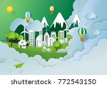 paper art style of nature... | Shutterstock .eps vector #772543150
