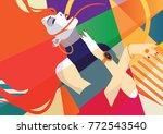 fashion girl in style pop art... | Shutterstock .eps vector #772543540