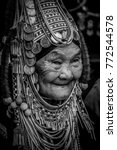 Small photo of CHIANG RAI, THAILAND - DEC 10, 2017 : Akha tribe elderly woman with traditional clothes, black and white