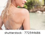 beautiful blond tourist woman... | Shutterstock . vector #772544686