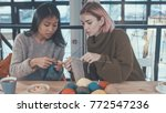 young girls in the knitting... | Shutterstock . vector #772547236