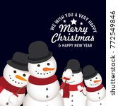 four snowman wish you merry... | Shutterstock .eps vector #772549846