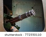 six barrel rotary machine gun... | Shutterstock . vector #772550110