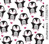 seamless penguin bird pattern... | Shutterstock .eps vector #772550776