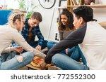 multiethnic teen friends... | Shutterstock . vector #772552300