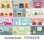 set of interiors in flat style. ... | Shutterstock .eps vector #772552378