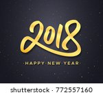 happy new year text and gold... | Shutterstock . vector #772557160