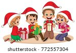 kids with christmas presents | Shutterstock .eps vector #772557304