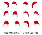red christmas hats | Shutterstock .eps vector #772563070