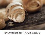 wood shavings on the carpenter... | Shutterstock . vector #772563079