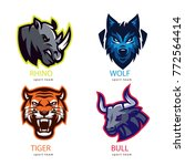 animal badges for sport teams | Shutterstock .eps vector #772564414
