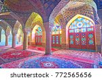 Small photo of SHIRAZ, IRAN - OCTOBER 12, 2017: The prayer hall of Nasir Ol-Molk mosque is the best place to enjoy the islamic architecture of Shiraz and complex tiled decoration, on October 12 in Shiraz.