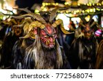 BAD TOELZ, GERMANY - DECEMBER 9: traditional krampuslauf with wooden masks on December 9, 2017 in Bad Toelz, Germany. The Krampus is in the tradition of a fright figure in the company of St. Nicholas. - stock photo