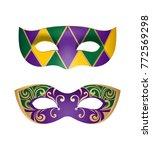 2 bright mardi gras masks for... | Shutterstock .eps vector #772569298