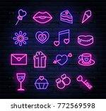 set of neon valentines... | Shutterstock .eps vector #772569598