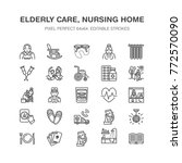 elderly care vector flat line... | Shutterstock .eps vector #772570090
