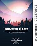 summer camp flyer or poster...   Shutterstock .eps vector #772570978