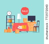 garage sale  unnecessary things.... | Shutterstock .eps vector #772572040