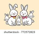 Bunny Cartoon Family Vector