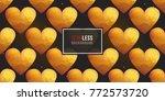 gold polygonal shape  heart on... | Shutterstock .eps vector #772573720