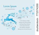 winter. running deer. poster  a ... | Shutterstock .eps vector #772574200