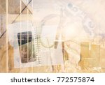 top view of workplace with...   Shutterstock . vector #772575874