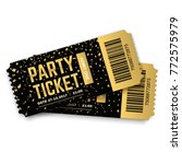 two golden vector party tickets.... | Shutterstock .eps vector #772575979